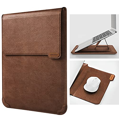 """Nillkin 13 inch Laptop Sleeve Case Laptop Stand Adjustable, Computer Shock Resistant Bag with Mouse Pad for 13"""" MacBook Pro and MacBook Air, XPS 13, Surface Book 13.5"""", 12.9"""" New iPad Pro, Brown"""