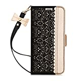 WWW iPhone SE 2020 Wallet Case 4.7', iPhone 7 Wallet Case,iPhone 8 Wallet Case,[Romantic Carved Flower] Leather Case with [Card Holder] [Makeup Mirror] [Kickstand ] for Apple iPhone SE 2020/7/8 Black