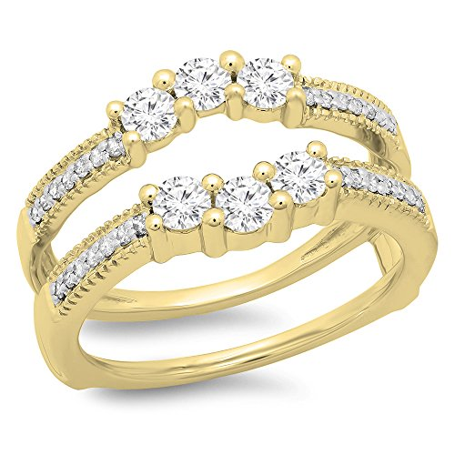 Dazzlingrock Collection 0.80 Carat (ctw) 14K Round Cut Diamond Wedding 3 Stone Enhancer Guard Ring 3/4 CT, Yellow Gold, Size 7