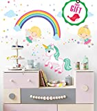 Fairy Unicorn Baby Girl Room Décor Stickers - Princess Playroom Wall Decals with Free Gift!