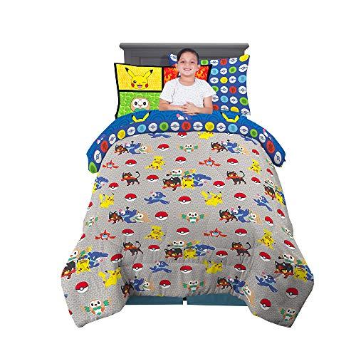 Franco Kids Bedding Juego de sábanas y edredón Supersuave con Funda de Almohada, 5 Piezas, tamaño Individual, Pokemon