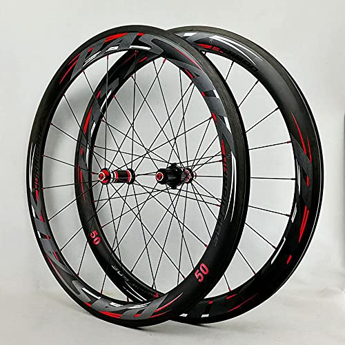 Juego de ruedas de llanta gruesa de 50 mm Buje de ciclismo de liberación rápida, Ruedas de bicicleta de fibra de carbono, Rueda de bicicleta, Juego de ruedas de bicicleta de fibra de carbono 700c