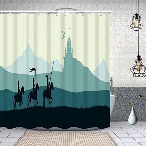 Yoliveya Wasserdichter Duschvorhang,Schwarze Ritter auf Hintergr&burg,Drucken von Badvorhängen mit 12 Haken 180x180cm