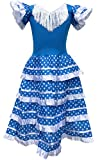 La Senorita Vestido Flamenco Español Traje de Flamenca Chica/niños Azul Blanco (Talla 6, 110-116 - 75 cm, 5/6 años, Azul)