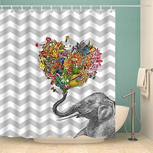 YONG-SHENG Elefant Duschvorhang Wasserdicht & Mildewproof Digital Gedruckt Polyester Gewebe Wohnaccessoires Eingestellt mit Haken 180cm x 180cm (Style 7)