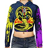 Cobra Kai Logo Dew Navel Hoodie Women Long Sleeve Sexy Crop Top Hoodie Casual Sweater Sweatshirts Black