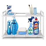 Simple Trending 2-Tier Under Sink Expandable Cabinet Shelf Organizer for Kitchen Bathroom Storage, White