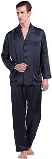 LILYSILK 100 Pure Silk Pyjamas for Men Set Long Sleepwear Pyjama Set 22 Momme Mulberry Silk Navy Blue Size 34/XS