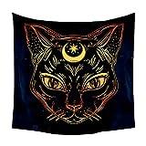 HAMILO タロットタペストリー 壁掛けタロットクロス 猫タペストリー タロット占い (ブラック)