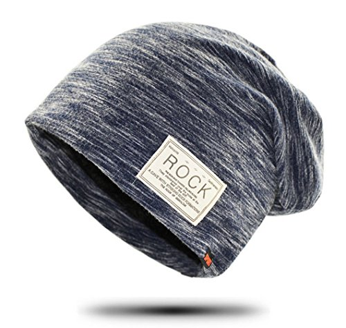 (LuluLAB) ニット帽 ニットキャップ 薄手 裏起毛 スノボー スキー 男女兼用 (ネイビー)