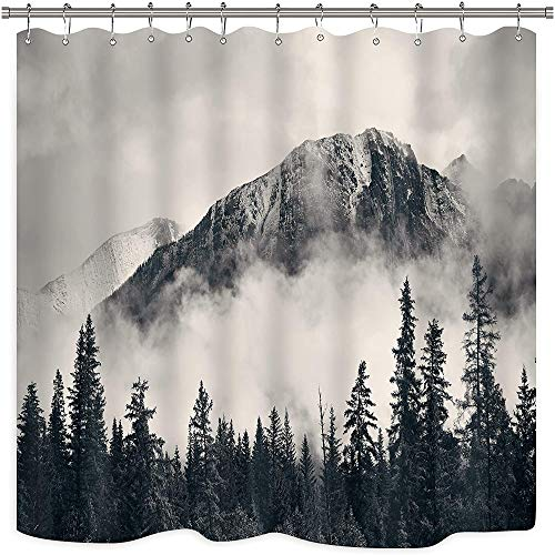 Riyidecor National Parks Mountain Shower Curtain Metal Hooks 12 Pack Scenery Foggyy Home Decor Smokey Forest Tree Cliff Outdoor Idyllic Photo Art Decor Fabric Bathroom Set 72Wx72H inch