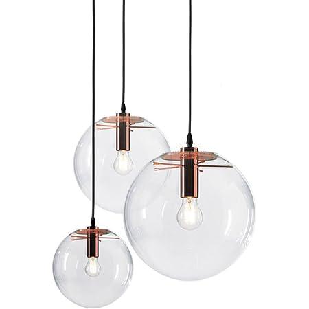 MZStech Suspension de verre classique en verre sphérique Couleur d'or créative luminaire simple en verre Lampe en verre (20cm)