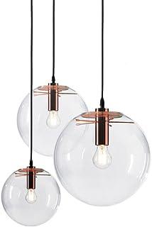 MZStech Suspension de verre classique en verre sphérique Couleur d'or créative luminaire simple en verre Lampe en verre (2...