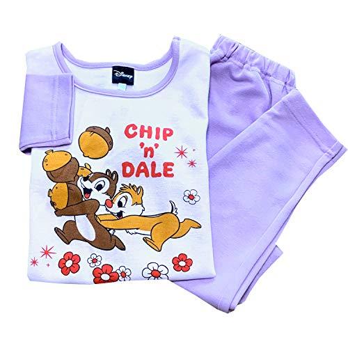 女の子 パジャマ 【チップとデール柄】【冬】 ピンク・パープル 100・110・120・130cm ダンボールニット ポリエステル70%・綿30% キッズ 子供 子ども 女児 チップ デール CHIP 'n' DALE ディズニー Disney 【中国製】