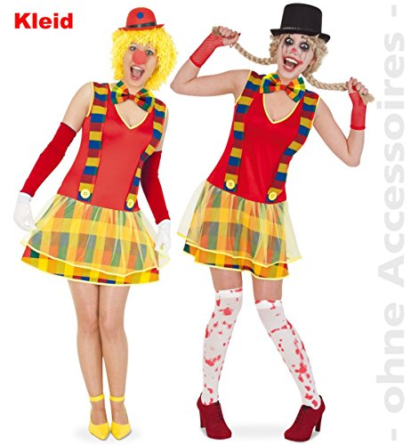 Party-Chic 13393 dames kostuum Crazy Clownette-clown jurk maat 40.