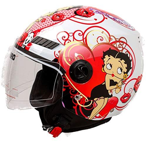 Shiro Casco Moto Jet ECE Homologado casco de moto para hombre casco mujer CASCO SH62 BETTY BOOM (XS)