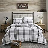 Woolrich Hawkeye 100% Cotton Comforter, Plaid Geometric Print Modern Luxe All Season Down Alternative Bed Set with Matching Sham, Decorative Pillow, King/Cal King(106'x94'), Black/White 4 Piece