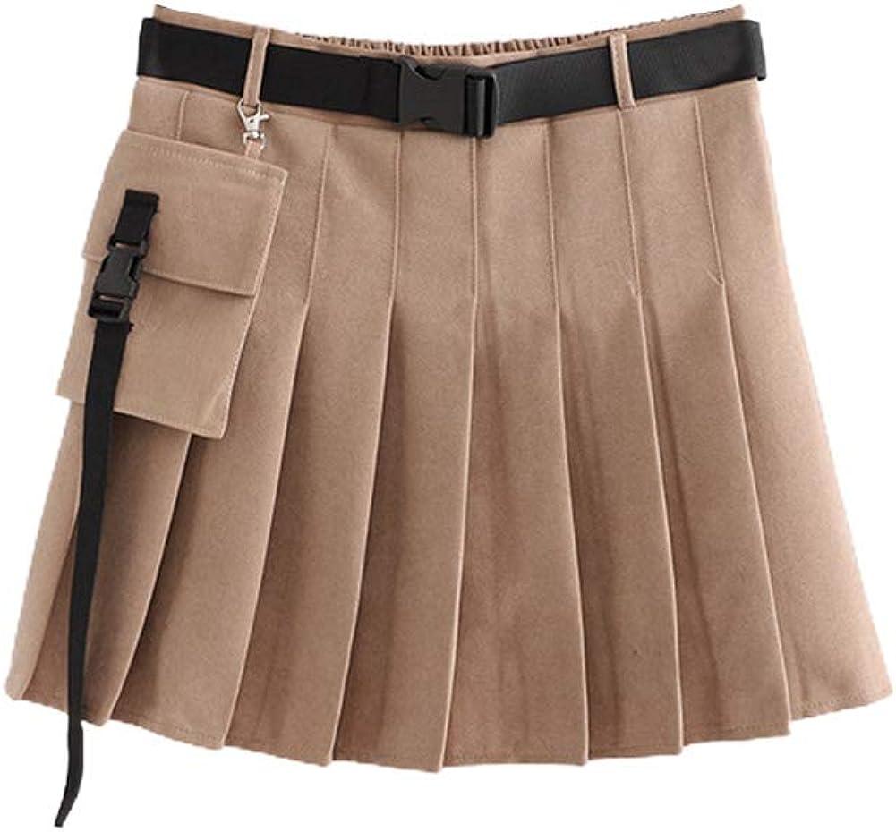 chouyatou Women's Vintage High Waist Belted Cargo Schoolgirl Pleated A Line Mini Skirt
