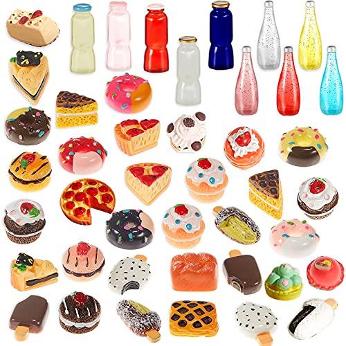 Jetec 50 Pieces Miniature Food Mini Food Drink 1:12 Scale House Kitchen Food Miniature Kitchen Accessories Food and Tableware Set (Vivid)