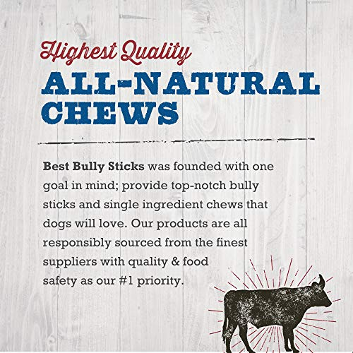 Best Bully Sticks Premium 6-Inch Jumbo Bully Sticks (12 Pack) - All-Natural, Free-Range, Grass-Fed, 100% Beef Single-Ingredient Dog Chews