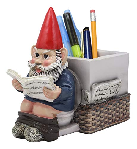 Ebros Gift Whimsical Bashful Old Mr Gnome with Pants Down Reading Newspaper by Toilet Bowl Stationery Pen Pencil Holder Statue 'Morning Business' Decorative Constipated Gnomes Figurine Sculpture