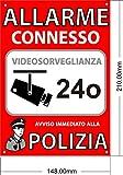 Allarme A5 Interno/esterno, Targhetta in Pvc Espanso, Segnale Di Allarme Collegato, 21x15 cm Di Colore Rosso