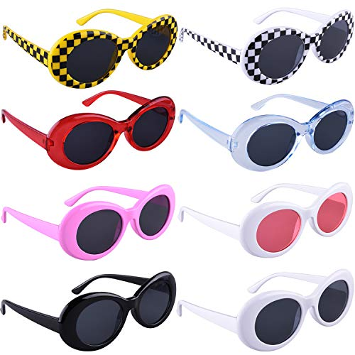 SIQUK 8 Pairs Clout Goggles Retro Oval Mod Thick Frame Sunglasses for Girls Boys