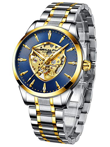 MEGALITH Herren Uhr Männer Militär Mechanische Automatikuhr Skelett Wasserdicht Gold Edelstahl Armbanduhr Mann Leuchtet Analog Coole Moderne Uhren