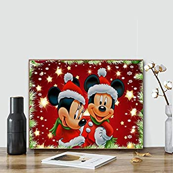 ACENGXI Christmas Paint by Numbers Christmas Paint by Numbers Disney Paint by Numbers Mickey Mouse Acrylic Painting Home Decor Christmas Disney Mickey Paint by Numbers Mickey for Adults Kids 16x20In