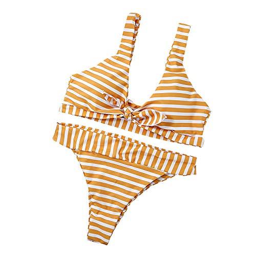 TSWRK Damen Streifen Bikini Set, Vorne Gebunden, Tief V-Ausschnitt, Push up Gepolstert, Zweiteiliger Badeanzug Bademode, Gelb Weiß, Größe L