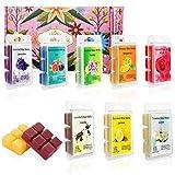juehu Set da 8 Blocco di cera per aromaterapia,100% Cera di Soia Naturale confezione da 8 candele per aromaterapia,Limone, Vaniglia, Lavanda,etc.Alleviare Lo Stress e Aromaterapia Regalo di Natale