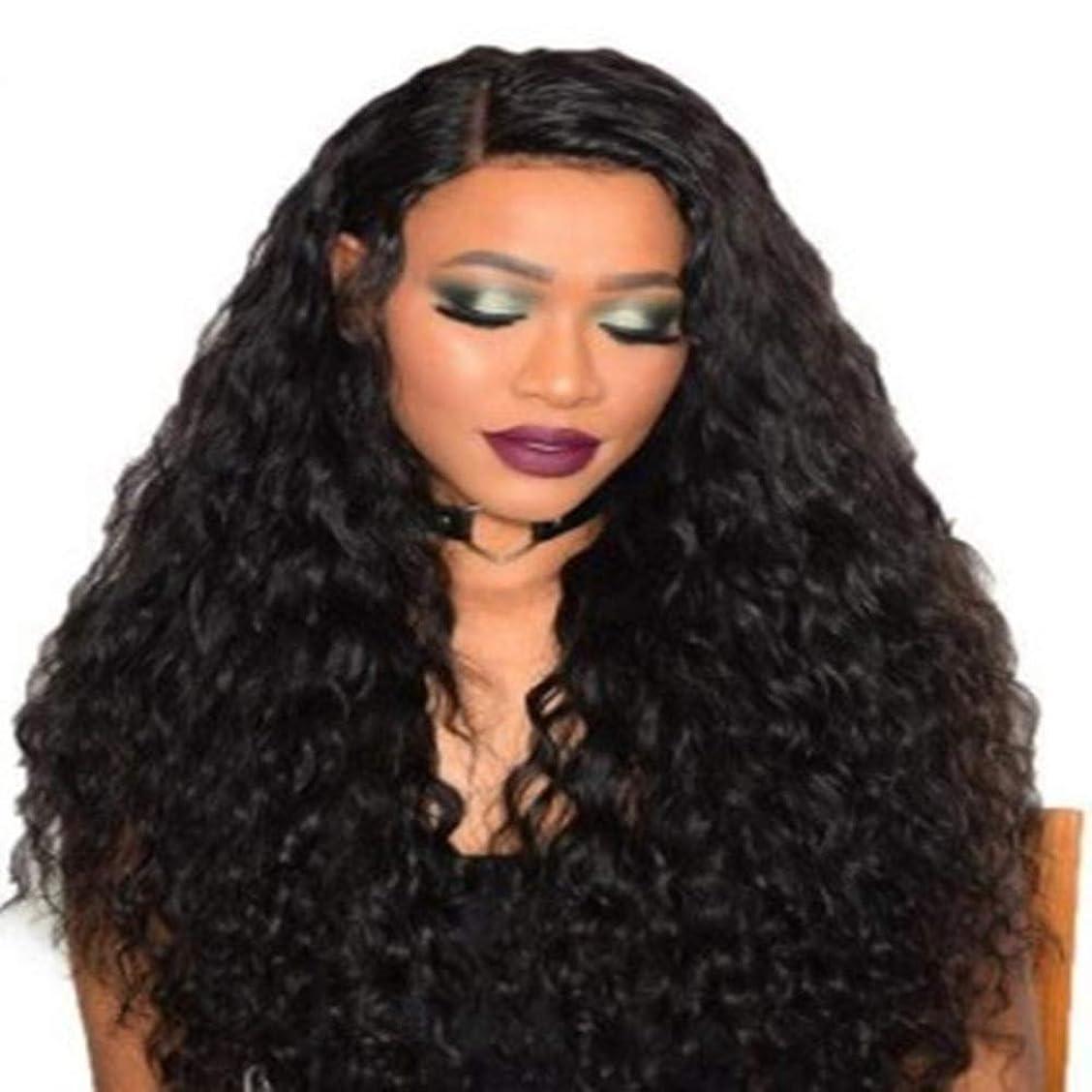 ランドマーク序文噛む女性の黒いトウモロコシ長い巻き毛のかつら75 cm