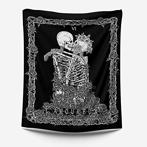 LZYMLG - Tapiz de tela con diseño de calavera negra para mesita de noche, dormitorio, sala de estar, sala de conferencias, hotel, dormitorio, apartamento decorativo de pared, tapices Gt111043