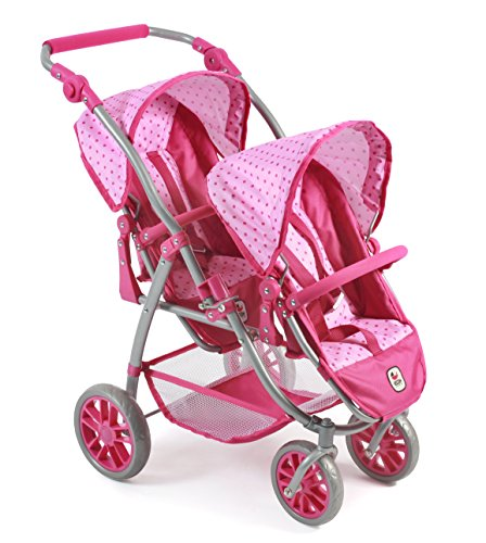 Bayer Chic 2000 689 31 Tandem-Buggy Vario, Zwillings-Puppenwagen, Dots pink