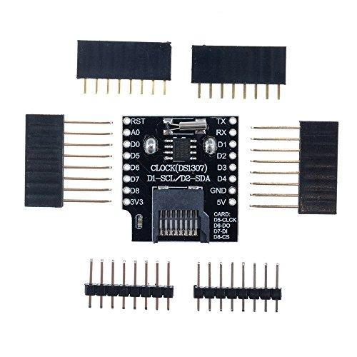 Wemos D1 Mini-Datumslogger-Schild RTC DS1307 Uhr Micro SD für Arduino Raspberry Pi, 2 Stück