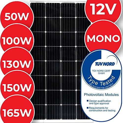 Monokristallin Solarmodul - 50 100 130 150 oder 165 W, 18 V für 12 V Batterien, MC4 Ladekabel - Photovoltaik Solarpanel, Solarladegerät, Solarzelle, Solaranlage für Wohnwagen, Camping, Balkon (130 W)