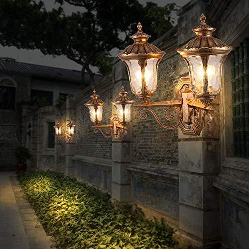 Wandlamp van kristalglas, spiegel, retro, dubbele kop, E27, wandlamp, buitenverlichting, villa, landschap, tuin, buitenverlichting, muur, muur, lantaarn, ingang, terras