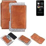 K-S-Trade® Schutz Hülle Für Allview A9 Lite Gürteltasche Gürtel Tasche Schutzhülle Handy Smartphone Tasche Handyhülle PU + Filz, Braun (1x)