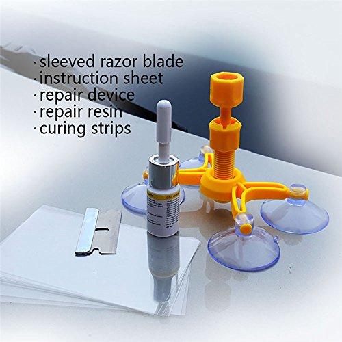 JXQ-N Autoglas Reparatur-Set für Windschutzscheibe Scheibenreparatur gegen Steinschlag und Risse Werkzeug Sets DIY-Selbstreparatur geeignet für jeden KFZ Autoglas, Saugnapf Stil