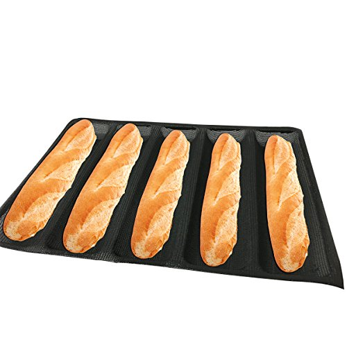 Bluedrop Hot Dog Molds Silicone Bread Forms Non Stick Bakery Trays For Roll Toasting 5 Loaves 12' Sheets