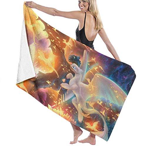 Ewtretr Toalla de Playa How to Tra-in Your Dragon Toothless Dragon 62 Beach Towels Ultra Absorbent Microfiber Bath Towel Picnic Mat for Men Women Kids