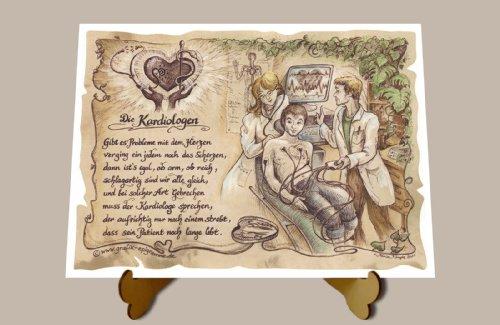 Geschenk Kardiologie Herzspezialist Kardiologe Zeichnung Color 20 x 15 cm mit Aufsteller