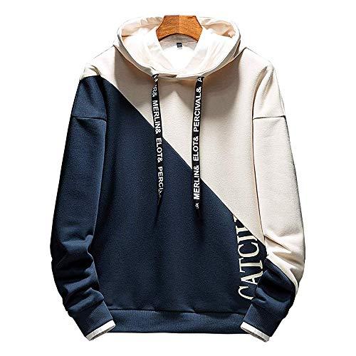 KENAIJING Hoodie Herren Kapuzenpullover Long Sleeve Sweatjacke Pullover (Blau, 3XL)