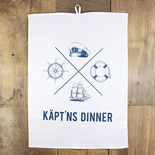 Baqu Hamburg Maritimes Geschirr-Tuch/Küchentuch - Käpt´ns Dinner Kapitän