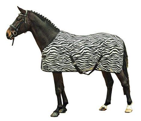 HKM Fliegendecke -Zebra- mit Kreuzgurt, weiß/schwarz, 165