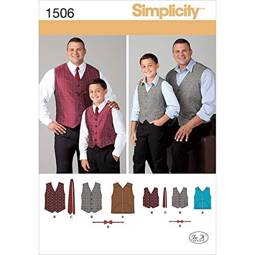 Simplicity 1506 Schnittmuster Husky für Jungen und große und große Herrenweste, Kindergrößen S-L und Herrengrößen XL-XXXXXL