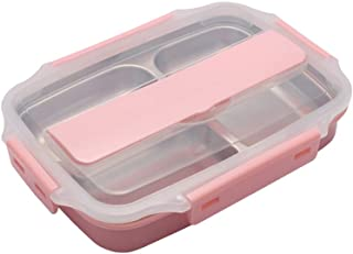 AINAAN Stainless Steel Leakproof Lunch Box,Dishwasher Safe, BPA-Free,Equipped with cutlery and suitable tote bag, 2019, Pink