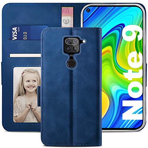 YATWIN Handyhülle Xiaomi Redmi Note 9 Hülle, Klapphülle Xiaomi Redmi Note 9 Premium Leder Brieftasche Schutzhülle [Kartenfach] [Magnet] [Stand] Handytasche Hülle für Xiaomi Redmi Note 9, Blau