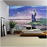 YIERLIFE 3D Tela no tejida Mural de papel pintado Pared - Figura religiosa Jesús alimenta pájaros ju...