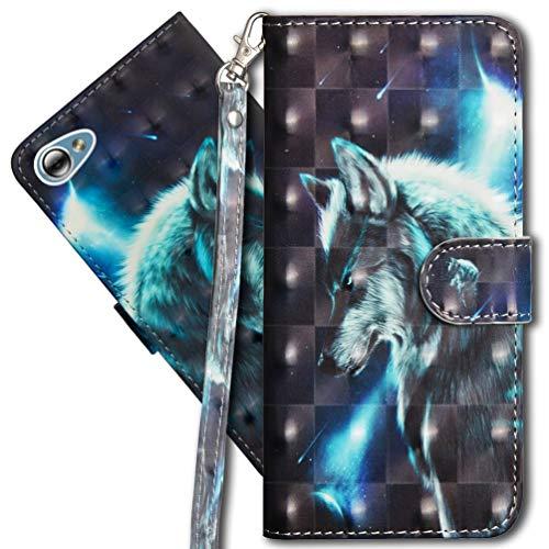 MRSTER LG Q6 Handytasche, Leder Schutzhülle Brieftasche Hülle Flip Hülle 3D Muster Cover mit Kartenfach Magnet Tasche Handyhüllen für LG Q6. YX 3D - Wolf